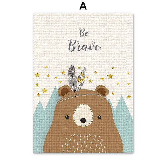 Bear, Rabbit, Deer, Fox, Racoon or Mountains - Wall Art - Our Baby Nursery