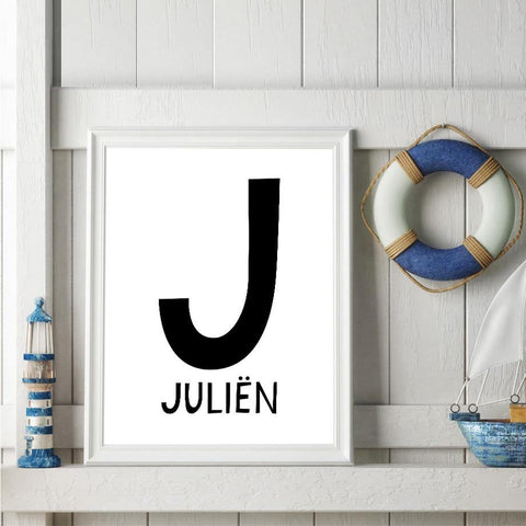 Custom Letter + Baby Name Print (Black) - Our Baby Nursery