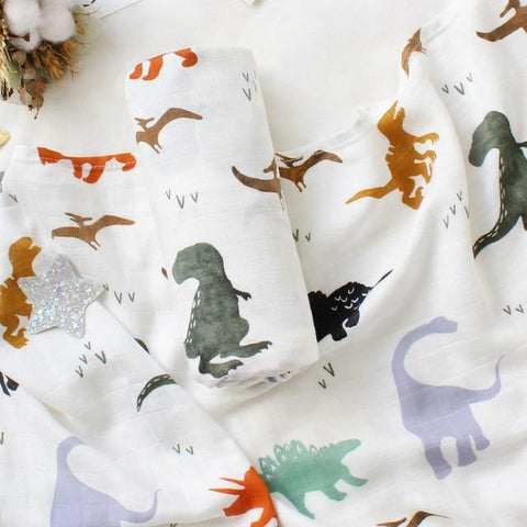 Dinosaur Muslin Swaddle - Our Baby Nursery