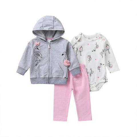 Flamingo Set - Baby Romper, Leggings, Jacket - Our Baby Nursery