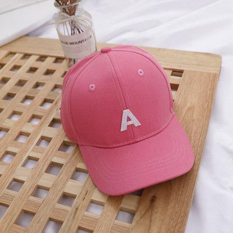 Letter A - Kids Baseball Cap (Dark Pink) - Our Baby Nursery