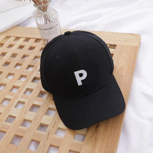 Letter P - Kids Baseball Cap (Black) - Our Baby Nursery