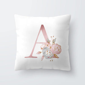 Letter Pillow Cover - Floral Pink - Our Baby Nursery