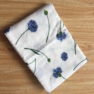 Muslin Square - Blue Flowers - Our Baby Nursery