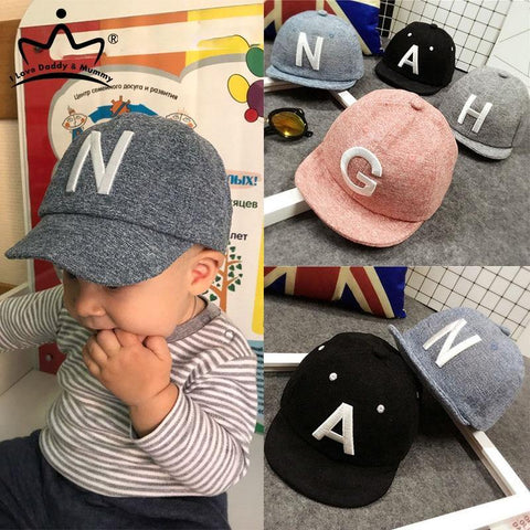 N Letter Kids Baseball Cap (Grey) - Our Baby Nursery