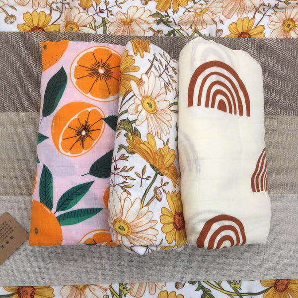Oranges Muslin Swaddle - Our Baby Nursery
