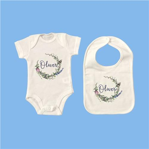 Personalised Baby Onesie & Bib Set - 11 6M