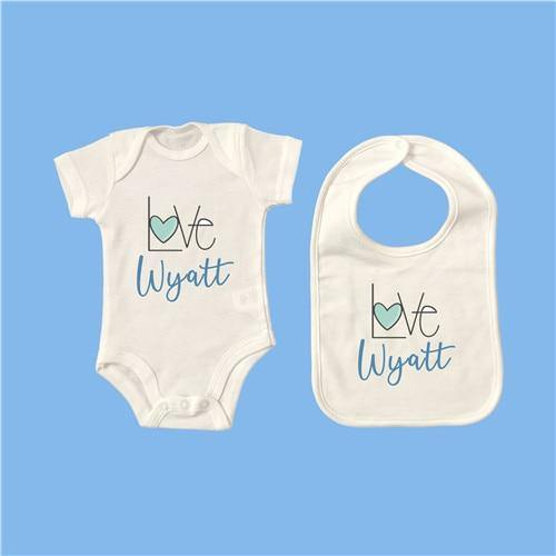 Personalised Baby Onesie & Bib Set - 15 6M