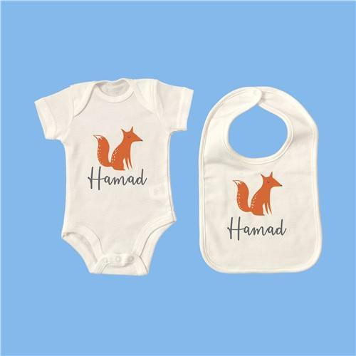 Personalised Baby Onesie & Bib Set - 17 12M