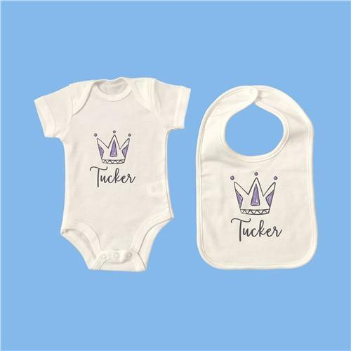 Personalised Baby Onesie & Bib Set - 4 6M