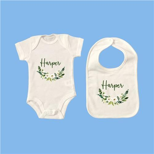 Personalised Baby Onesie & Bib Set - 9 12M