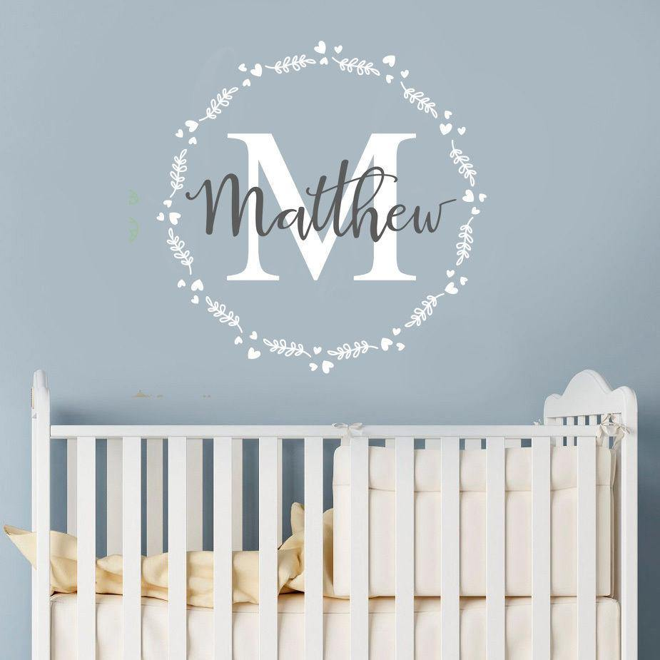 Personalised Initial and Name with Wreath Decal - Our Baby Nursery