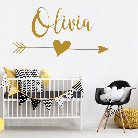 Personalised Name with Arrow Heart - Wall Decal - Our Baby Nursery