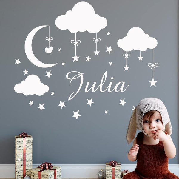Personalised Name with Cloud Moon Stars - Wall Decal - Our Baby Nursery