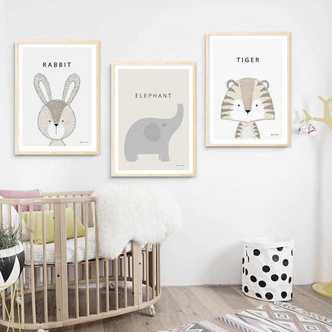 Rabbit Tiger Giraffe Elephant - Kawaii Cartoon Animals Wall Art - Our Baby Nursery
