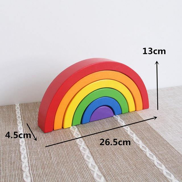 Rainbow Wooden Building Blocks (7pcs) - Our Baby Nursery