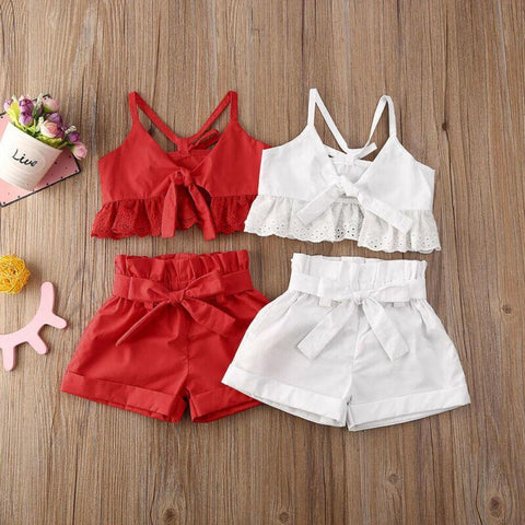 Ruffles Lace Crop Top + Shorts 2pcs - Our Baby Nursery