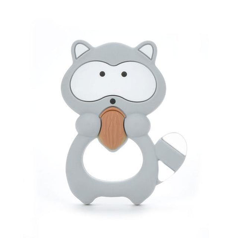 Silicone Teether - Raccoon (Grey) - Our Baby Nursery