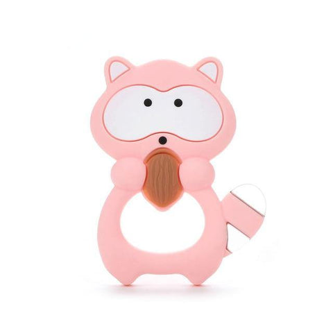 Silicone Teether - Raccoon (Pink) - Our Baby Nursery