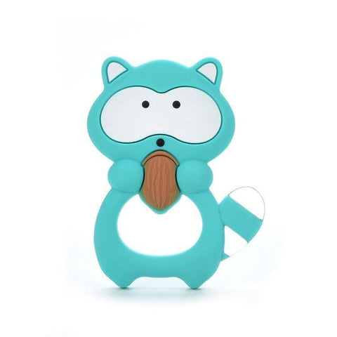 Silicone Teether - Raccoon (Teal) - Our Baby Nursery