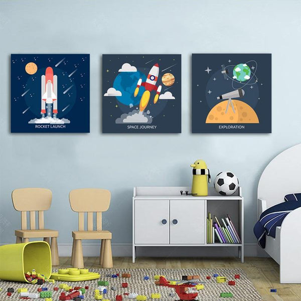 Space Universe Cartoon Wall Art - Our Baby Nursery