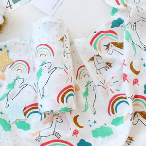 Unicorns & Rainbows Muslin Swaddle - Our Baby Nursery