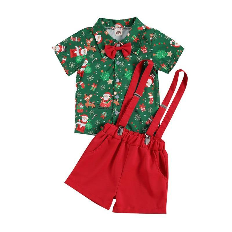 Xmas Outfit - Bowtie Top + Suspender Shorts - Our Baby Nursery