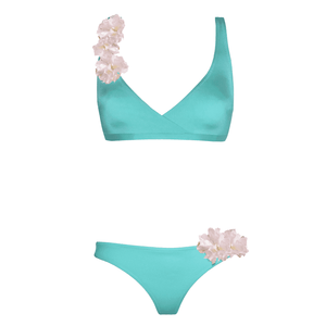 Daisy blue bikini. Designer bikini, tan, two-pieces, exclusive, blue, with flowers, with ruffles, no foam rubber, breast prop, loveJilty