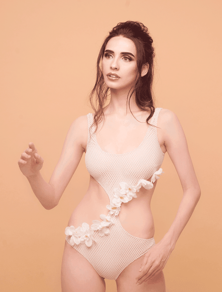 Designer swimsuit, one-piece, exclusive, beige, light, with flowers, unusual, with ruffles, piecework, cutout, Keosme, don't push through shoulders,U- neckline, a swimsuit with flowers, one-piece, tank, monokini, elegant neckline, non-foam, unpadded cups, wide straps, retro neckline, gentle, minimalistic, luxurious, refined, unique, elegant