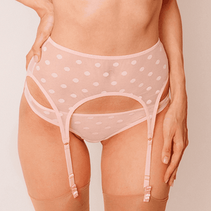 Designer garter belt, loveJilty, comfortable, pink, light, see-through, thin suspenders, polka-dotted, exclusive, adjustable, romantic, cute, fancy, playful, One size