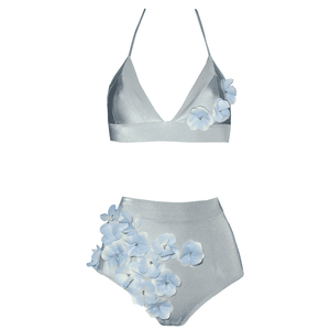 255665b2a1502 Designer bikini, exclusive, unusual, high waisted, silver, gray, blue, with  flowers, frill, with beads, Keosme, silicone flowers, adjustable waist, ...