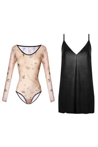 Tattoo bodysuit and Rock dress outfit - Outfit by yesUndress. Shop on yesUndress