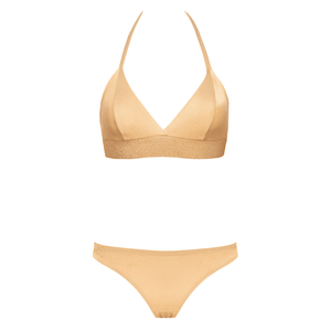 Designer swimsuit, bikini, loveJilty, comfortable, gold, bright, shiny, lurex band under the breast, supports the chest, a bathing top, bikini top, triangles, cups, push-up effect, non-foam, unpadded rubber, wide elastic band underbust, bright, brilliant, comfortable, textured, wear-resistant, dries quickly in the sun