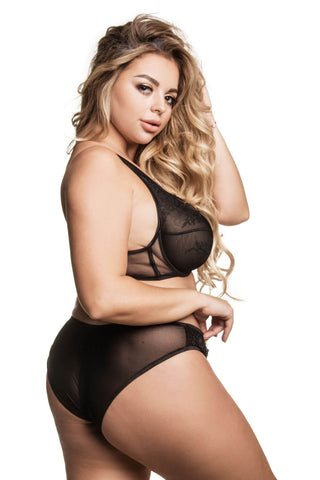 Asolea black slip panties plus size - yesUndress