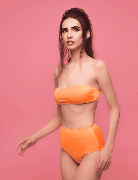 Designer swimsuit, tan, exclusive, comfortable, loveJilty, bright, orange, carrot, bandeau, strapless, bathing bra, top, basic swimsuit, smooth, comfortable, wear-resistant, dries quickly, minimalistic, bright, sporty, fashionable, simple