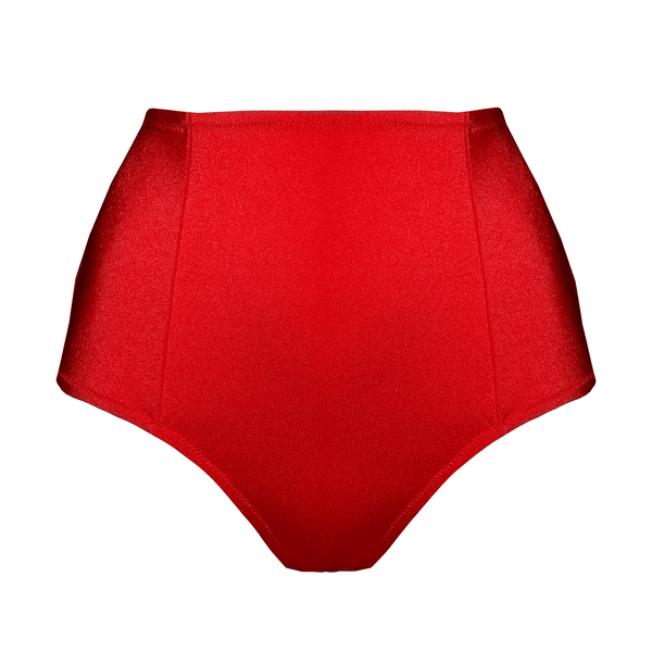 Designer swimsuit, high bikini bottom, exclusive, comfortable, loveJilty, red, scarlet, shiny, high panties, high waist,  basic swimsuit, smooth, comfortable, wear-resistant, dries quickly, minimalistic, bright, sporty, fashionable, simple