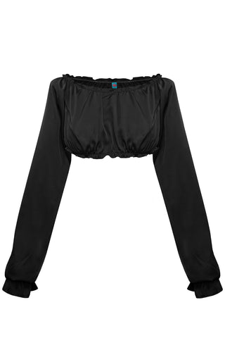 Candy Black long-sleeve crop top - Top by WOW! Panties. Shop on yesUndress