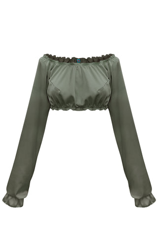 Candy Khaki long-sleeve crop top - Top by WOW! Panties. Shop on yesUndress