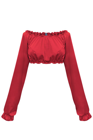 Candy Red long-sleeve crop top - Top by WOW! Panties. Shop on yesUndress