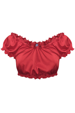 Candy Red ruched crop top - Top by WOW! Panties. Shop on yesUndress