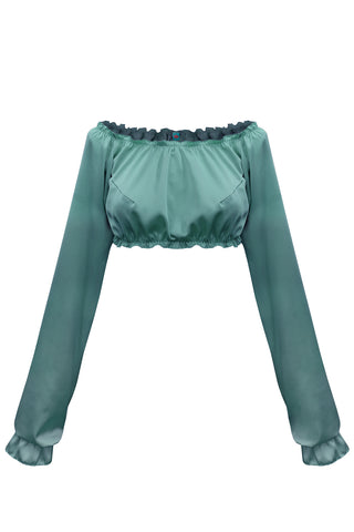 Candy Teal long-sleeve crop top - Top by WOW! Panties. Shop on yesUndress