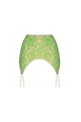 Monica light greenery garter belt