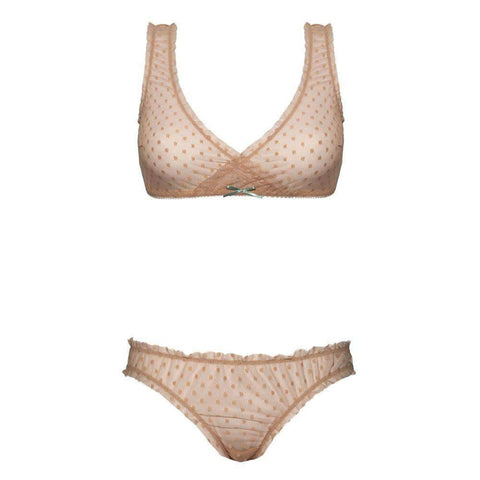 Designer lingerie set, see-through, polka-dotted, soft, light, airy, comfortable, for teens, beige, brown, light, soft, resilient, romantic, cute, playful, delicate, non-foam, unpadded, soft cups