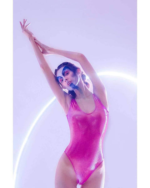 Designer swimsuit, one-piece, one-shoulder, shiny, glitter, metallic, fuchsia, bright, glitter, unusual, piecework, Keosme, solid, smooth, piece-wise, solid, tank, monokini, foamless cups, wide straps, briefs back, deep cut on the thighs, high hips, retro cut