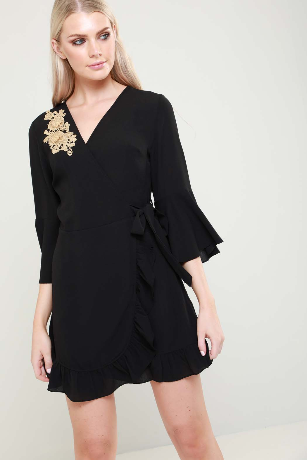 Nicole Black Wrap Flute Sleeve Embroidered Mini Dress