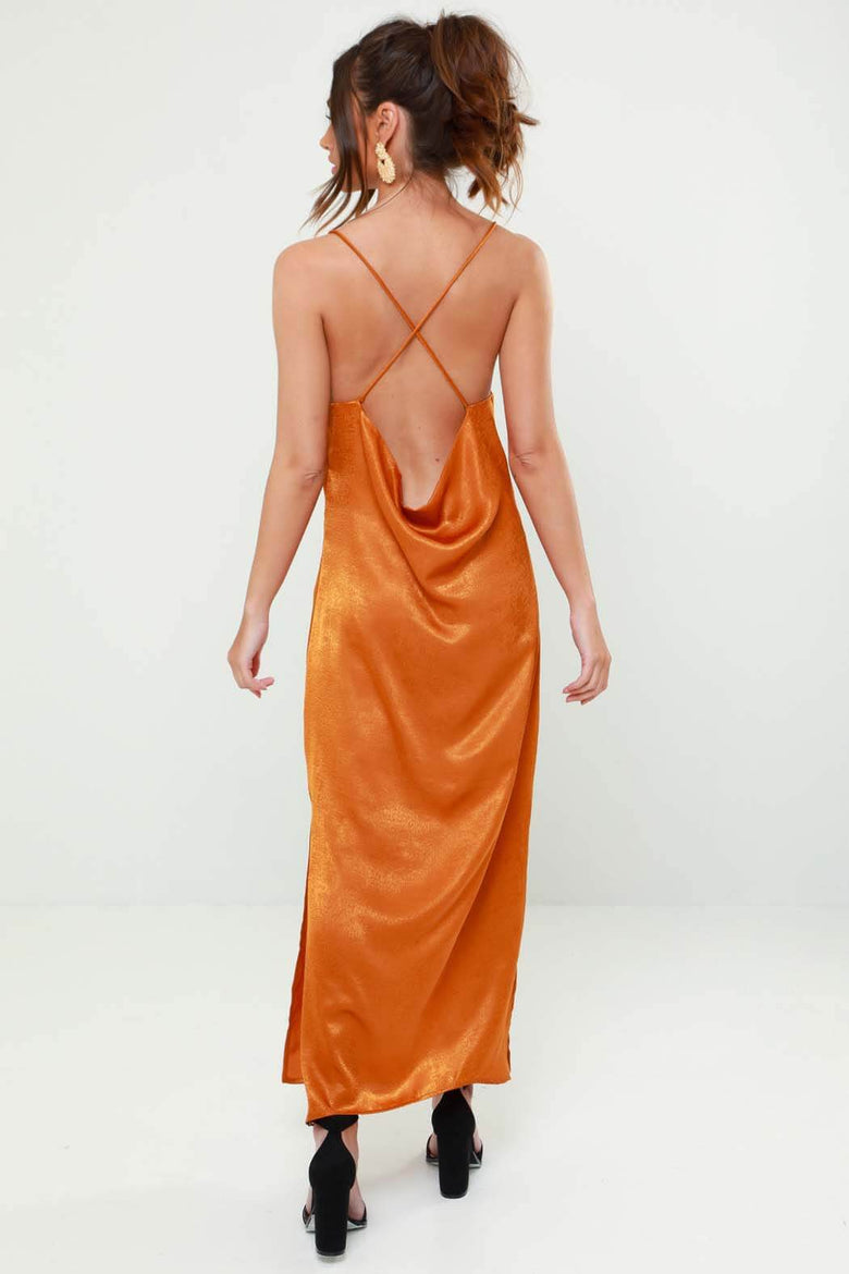 Vogue Rust Cowl Back Satin Midi Slip Dress