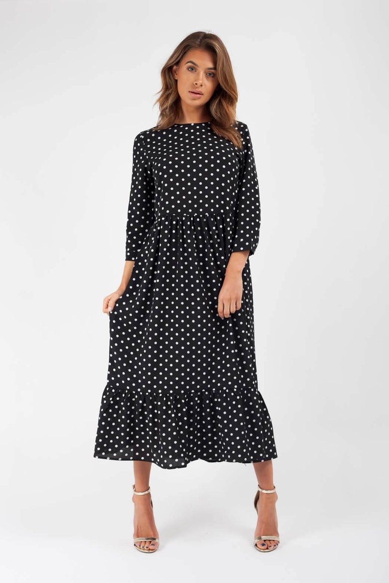 Francesca Black Spot Tiered Smock Midi Dress