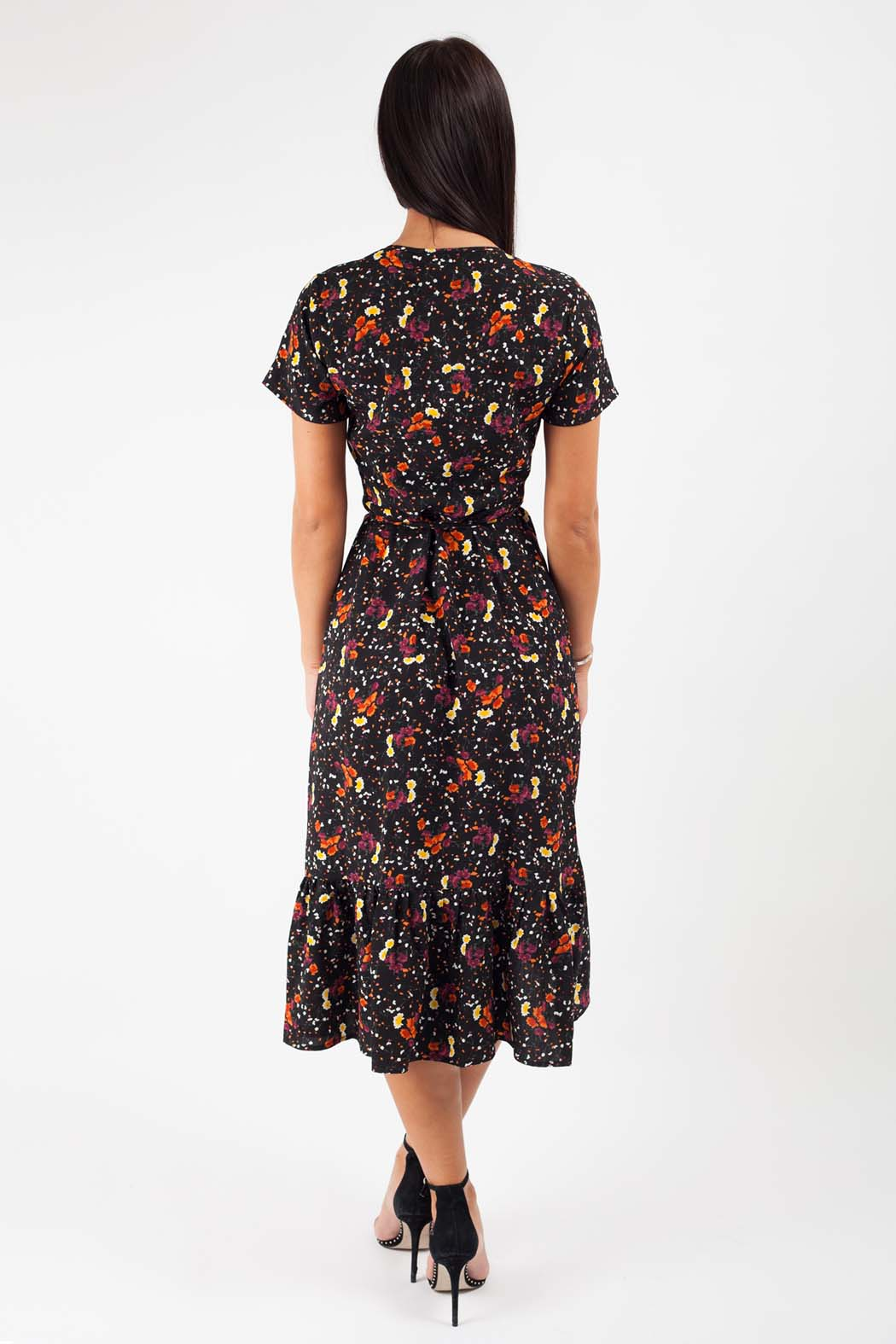 Fallon Black Floral Wrap Midi Dress