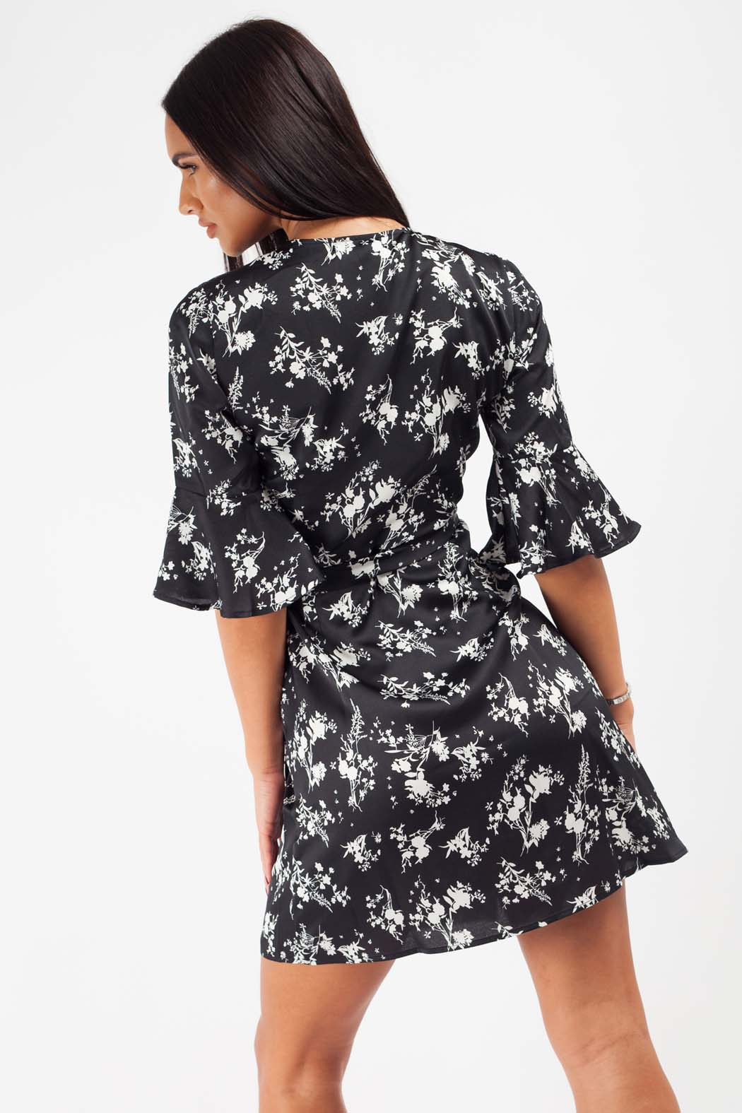 Bloom Black Floral Satin Wrap Mini Dress