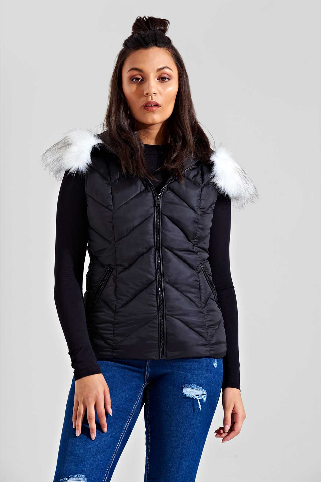 Black Danlent Staggered Chevron Puffa Gilet